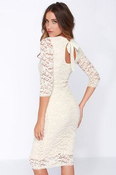 ab0eb40d5a5a Black Swan Tinsel Cream Lace Midi Dress at Lulus.com! Add jollywallet to  your