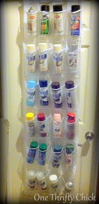 One Thrifty Chick: Spray Paint Storage {a quick fix}. A cheap plastic shoe organizer