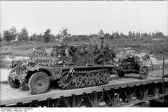 Camouflaged German half-track, towing a PAK 38 50mm antitank gun. Northern Russia. June 1942