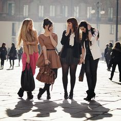 Stylish Foursome. Makes me think of @Erika Leigh, @Chelsea Groen, and @Jordana Grolnick.