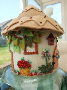 Felt Hand Embroidered Country Cottage Ornament / Pin Cushion