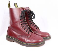 DOC DR MARTENS 1490 10 eye Cherry Red Leather Vintage Combat Boot Men UK 7 US 8 #DrMartens #AnkleBoots