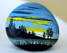 painted landscape pebbles - Google Search