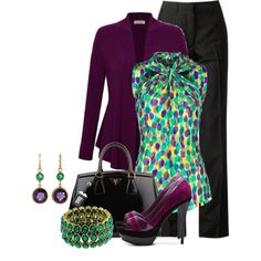 Emerald & Amethyst by brendariley-1 on Polyvore featuring Kaliko, Maison Margiela, JS by Jessica, Prada, 1928, Judy Geib and Etcetera