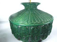 Vintage Wicker lamp,Swag Light, hanging light, Basket Light, Chandelier, retro light, green wicker lamp,white wicker