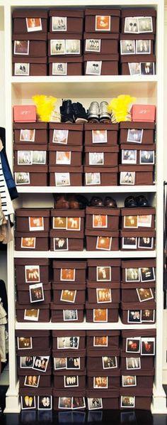 20 Closet Organization Tips & Tricks: canvas shoe boxes