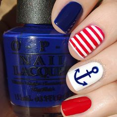 Top 150 Anchor Nail Art Designs , the first part Anchor Nail Designs, Anchor Nail Art, Nautical Nail Art, Best Nail Art Designs, Nautical Nail Designs, Nautical Theme, How To Do Nails, Fun Nails, Cruise Nails