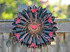 Modern Paper Bird Wreath , Home Decor  , Wreaths ,  Father's Day Gift , Summer Wreaths , Butterfly Wreath , Handmade