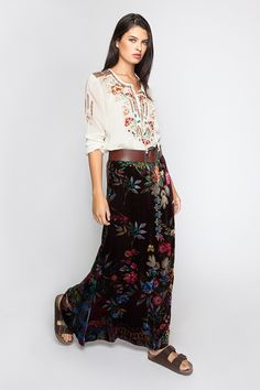 967e560ab5 Johnny Was Clothing CARNATION BLOUSE + VELVET MAXI SKIRT Casual Summer  Outfits