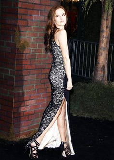 Zoey Deutch's black lace dress
