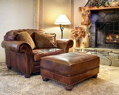 """It's a good time to curl up by a fire - and wouldn't it be nice to do that in a """"cuddle chair"""" or """"chair-and-a-half"""" like this great design in leather???"""