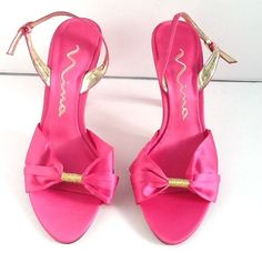 New Nina High Heel Satin Pink Strappy Women's  Shoes Size 7M #Nina #Strappy #Prom