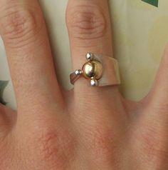 Designer Sterling Silver Gold Ball Unique Vintage Ring
