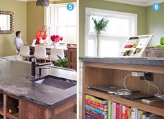 Consumer Reports: Kitchens: Under counter charging station and book case for cookbooks