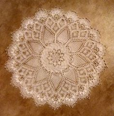 """Patricia Kristoffersen design: Pineapple Song from the original Absolutely Gorgeous Doilies book. Made with size 100 thread and size 14 hook, it measures 9.5"""""""