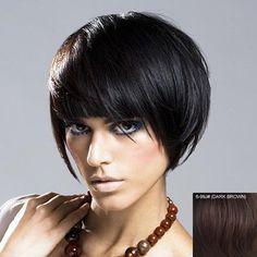 Charming Natural Straight Fashion Bob Short Full Bang Human Hair Wig For Women