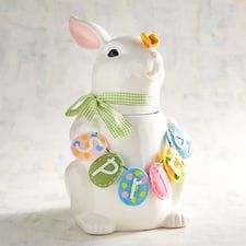 Easter Bunny with Banner Cookie Jar