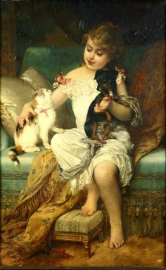 Emile Munier (French, 1840-1895) Girl with kitten and puppy