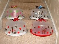 Personalized Cake Carriers- add a cake mix, serving knife. -cute idea for christmas gifts:)