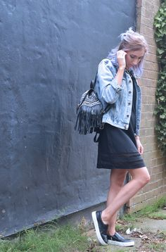 Sporty Outfit: Black dress from Rock and Rags with an oversized denim jacket, tribal backpack and black Firetrap pumps xx