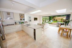 kitchen diner extension with bifold doors - sofa position Kitchen Extension, Open Plan Kitchen Diner, Open Plan Kitchen Dining, Kitchen Design, Living Room Kitchen, Kitchen Diner, Open Plan Kitchen Living Room, Open Plan Kitchen Dining Living, Kitchen Style