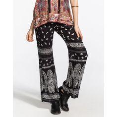 Patrons Of Peace Bandana Print Womens Pants ($17) ❤ liked on Polyvore featuring pants, black, paisley print pants, drawstring pants, gauze drawstring pants, paisley pants and gauze pants