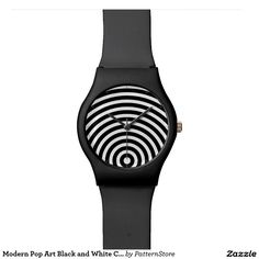 Shop Modern Pop Art Black and White Concentric Circles Wristwatch created by PatternStore. Graphic Patterns, White Patterns, Tick Tock Clock, Modern Pop Art, Deep Winter, Leather Texture, Winter Colors, Optical Illusions, Vintage Prints