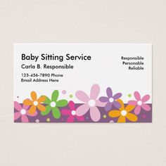 Download this babysitter business card template and other free babysitting business cards reheart Images