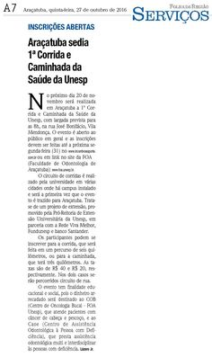 Araçatuba sedia 1ª corrida e caminhada da saúde da Unesp. Fonte: Folha da Região