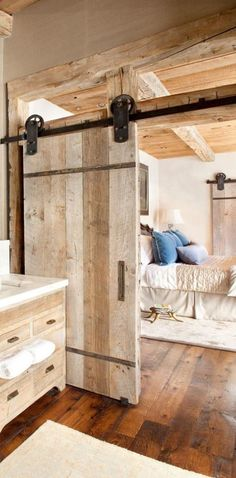 Barn doors today are becoming part of interior decoration in many houses because they are stylish. When building a barn door on your own, barn door hardware kit The Doors, Wood Doors, Sliding Doors, Entry Doors, Front Doors, Timber Door, Front Entry, Rustic Barn, Rustic Decor