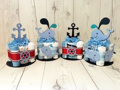 Nautical and whale themed baby shower centerpieces