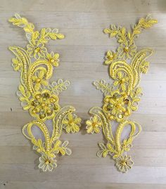 Yellow Beaded Applique