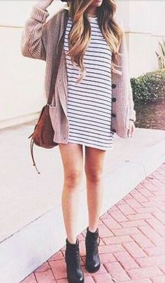 striped t-shirt dress, combat boots, oversized button cardigan