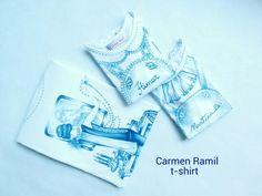 Camisetas de señora y niño pintadas a mano por Carmen Ramil.