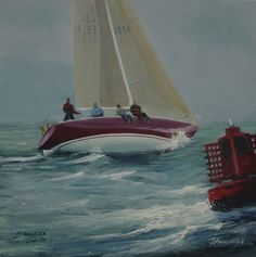 Stargazer round the cans Isle Of Arran, Stargazer, Art Paintings, Sailing, Boat, Candle, Dinghy, Boats, Painting Art