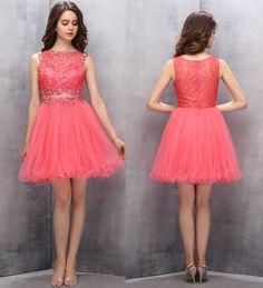 A-line Homecoming Dresses,Cute Homecoming Dresses,Short Homecoming Dresses,Sequined Prom Gown,Coral Prom Dresses,Sweet  Dress