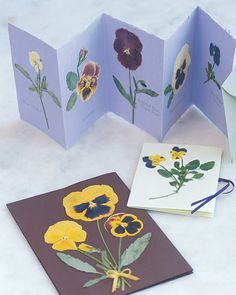 Pressed Flowers To create personalized stationery, apply pressed pansies to handmade cards or to notepaper and matching envelopes. Pansies pressed on their stems work especially well for this project.