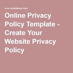 GDPR Compliant Terms Conditions Privacy Policy For Your Website - Online privacy policy template