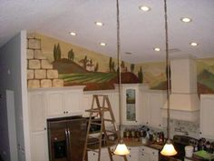 """""""TUSCAN MURAL"""" This was a very difficult location to paint. It was above the cabinets, which was actually three feet above the refrigerator. Michele Levani Art"""