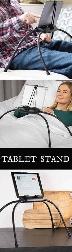Tablift holds your tablet securely on top of bendable, adjustable legs, leaving you to enjoy it hands-free, even when lying completely flat.