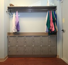 Staff Lounge - cool lockers and place for coats and jackets