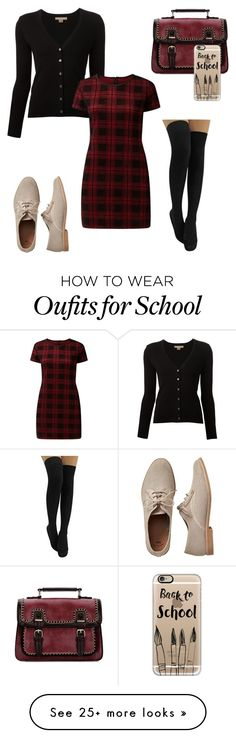 """School outfit"" by brubyx on Polyvore featuring Gap, Michael Kors, Blue Vanilla, Casetify, school, oxford, PlaidDress, schooloutfit and fashionset"