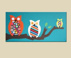 Owl painting nursery picture. Owls on canvas in turquoise with retro dots (not a print) for kids room & playroom. Personalized custom. $80.00, via Etsy.