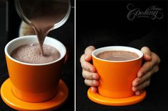 Creamy and smooth hot chocolate made using cocoa powder instead of chocolate to reduce calories. The combination with red wine makes it a true delight.
