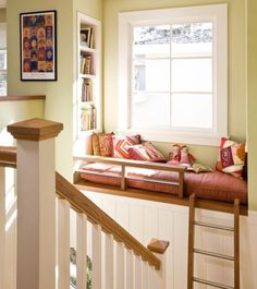 If I had this window seat with bookcase in my house my family would never see me. I would stay here for hours.