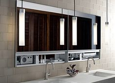 Uplift medicine cabinets and pendant lights grouped for personal storage and lighting in the bathroom.Robern A Series medicine cabinets comp...