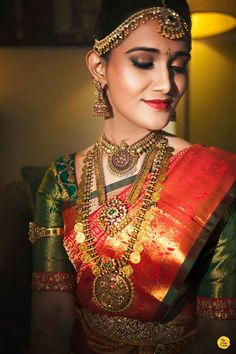 10 Best Nahas Jewellery We Spotted On Our Brides! Indian Bridal Fashion, Indian Bridal Makeup, Wedding Saree Collection, Bridal Collection, Hindu Bride, South Indian Bride, Kerala Bride, Saree Wedding, Wedding Bride