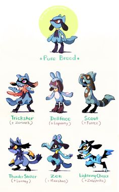 Riolu variations by too-much-green (too-much-green.tumblr.com)