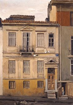 House in Dexameni - Constantinos Malamos , 1964 Greek, Oil on canvas, 120 x cm Greece Painting, Best Free Email, Call Art, 10 Picture, Greek Art, Athens Greece, Artist Art, Urban Art, Landscape Paintings