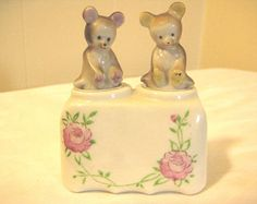 Bear Nodders Salt & Pepper Shaker Set Patent TT Vintage 1950's Japan Ceramic Oneida, N.Y. Souvenir Shakers, 1 Set